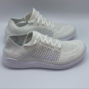 NEW Nike Free RN Flyknit Triple White 942838-103